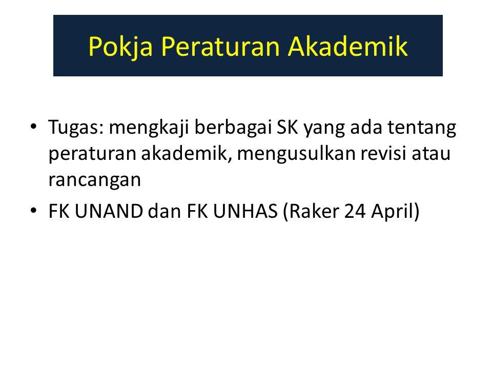 Pokja Peraturan Akademik Tugas: mengkaji berbagai SK yang ada tentang peraturan akademik, mengusulkan revisi atau rancangan FK UNAND dan FK UNHAS (Raker 24 April)