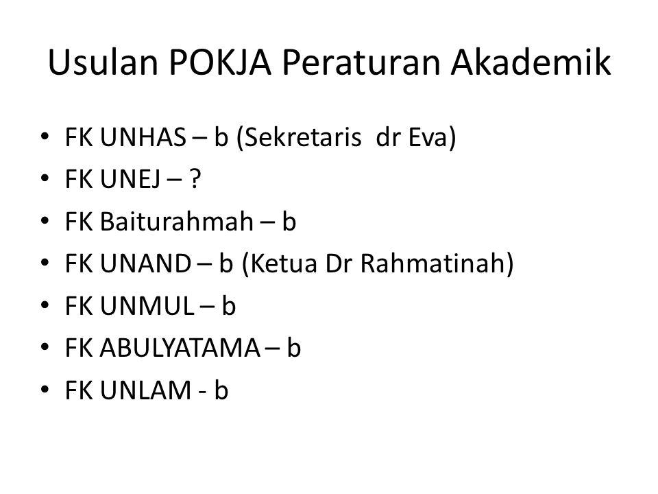 Usulan POKJA Peraturan Akademik FK UNHAS – b (Sekretaris dr Eva) FK UNEJ – .