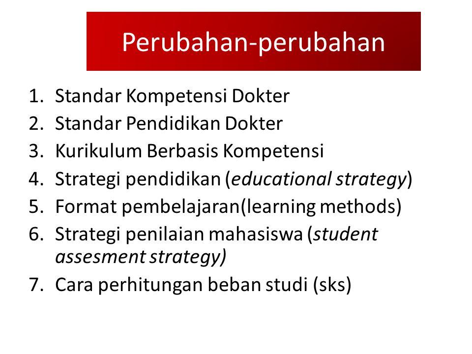 Perubahan-perubahan 1.Standar Kompetensi Dokter 2.Standar Pendidikan Dokter 3.Kurikulum Berbasis Kompetensi 4.Strategi pendidikan (educational strategy) 5.Format pembelajaran(learning methods) 6.Strategi penilaian mahasiswa (student assesment strategy) 7.Cara perhitungan beban studi (sks)