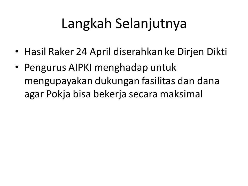 Langkah Selanjutnya Hasil Raker 24 April diserahkan ke Dirjen Dikti Pengurus AIPKI menghadap untuk mengupayakan dukungan fasilitas dan dana agar Pokja bisa bekerja secara maksimal