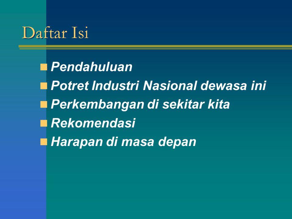 Daftar Isi Pendahuluan Potret Industri Nasional dewasa ini Perkembangan di sekitar kita Rekomendasi Harapan di masa depan