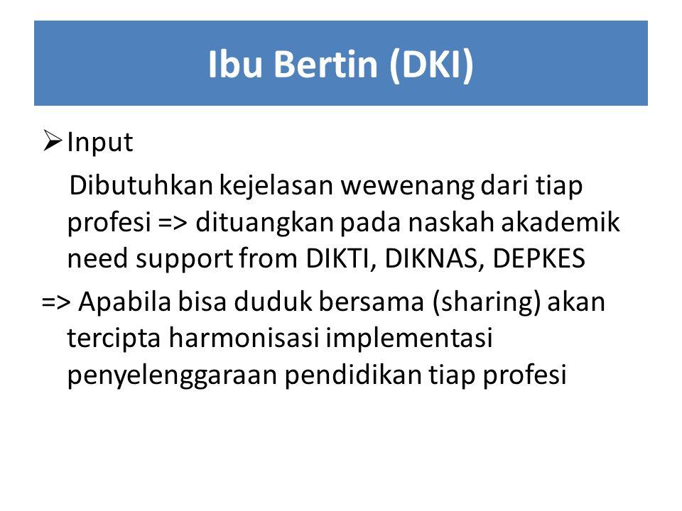 Ibu Bertin (DKI)  Input Dibutuhkan kejelasan wewenang dari tiap profesi => dituangkan pada naskah akademik need support from DIKTI, DIKNAS, DEPKES =>