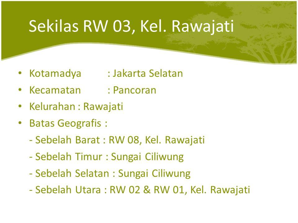 Sekilas RW 03, Kel. Rawajati Kotamadya : Jakarta Selatan Kecamatan : Pancoran Kelurahan: Rawajati Batas Geografis : - Sebelah Barat : RW 08, Kel. Rawa