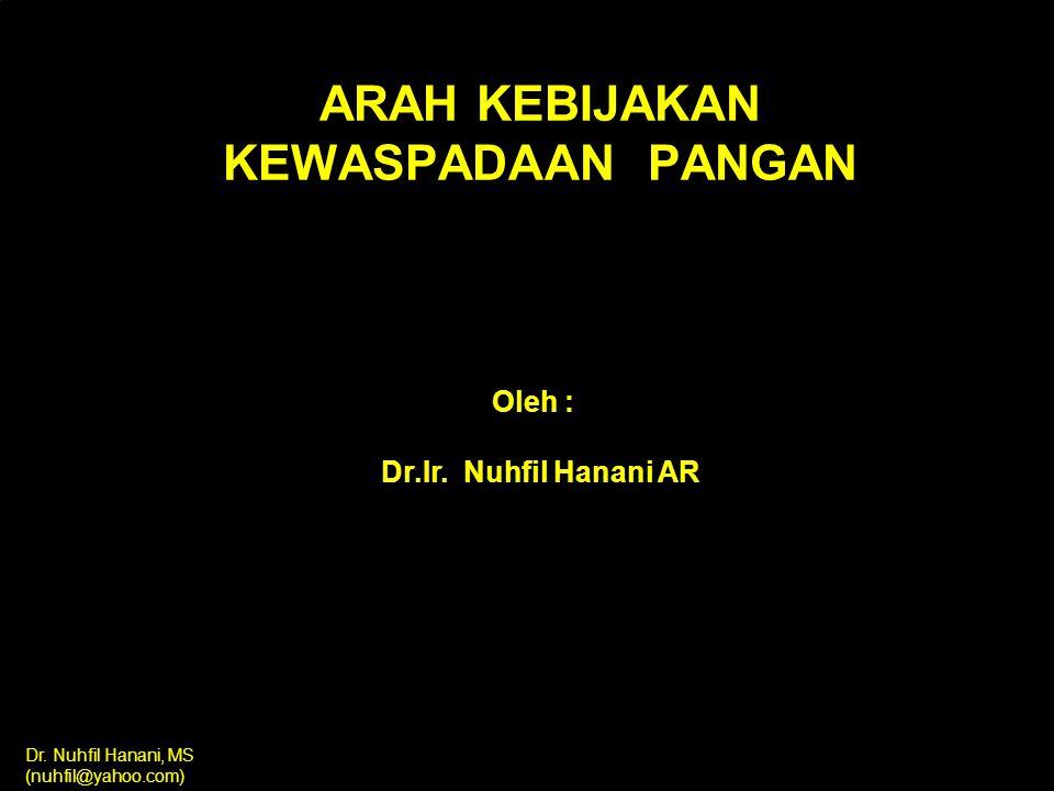 Dr.Nuhfil Hanani, MS (nuhfil@yahoo.com) ARAH KEBIJAKAN KEWASPADAAN PANGAN Oleh : Dr.Ir.