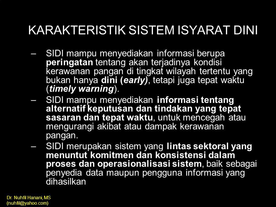 Dr. Nuhfil Hanani, MS (nuhfil@yahoo.com) 1.Menyediakan informasi untuk PERAMALAN tentang kemungkinan kejadian masalah pangan dan gizi di masyarakat 2.