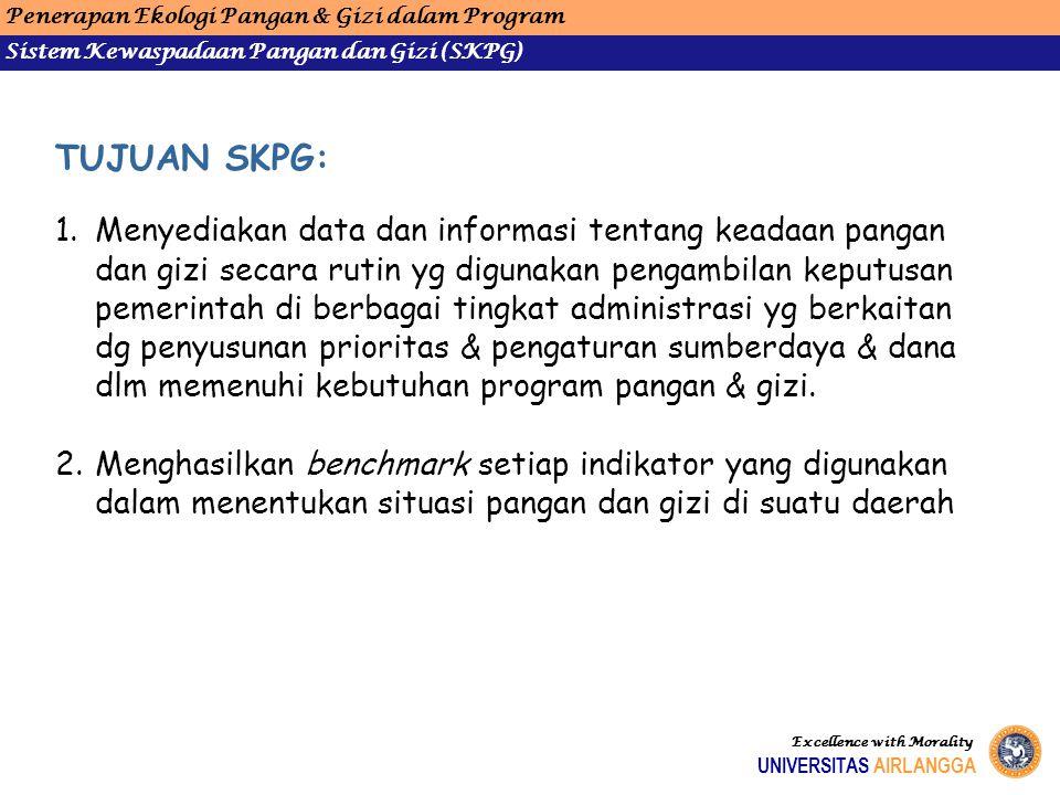 Penerapan Ekologi Pangan & Gizi dalam Program Sistem Kewaspadaan Pangan dan Gizi (SKPG) UNIVERSITAS AIRLANGGA Excellence with Morality TUJUAN SKPG: 1.