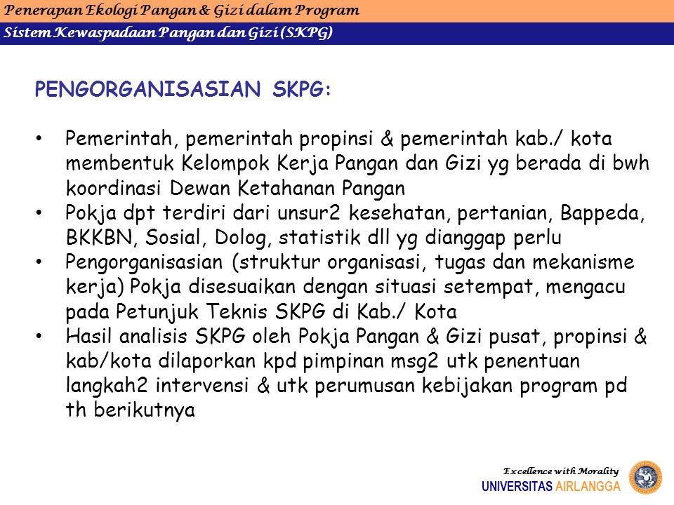 Penerapan Ekologi Pangan & Gizi dalam Program Sistem Kewaspadaan Pangan dan Gizi (SKPG) UNIVERSITAS AIRLANGGA Excellence with Morality PENGORGANISASIA