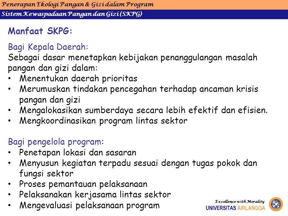 Penerapan Ekologi Pangan & Gizi dalam Program Sistem Kewaspadaan Pangan dan Gizi (SKPG) UNIVERSITAS AIRLANGGA Excellence with Morality Manfaat SKPG: B