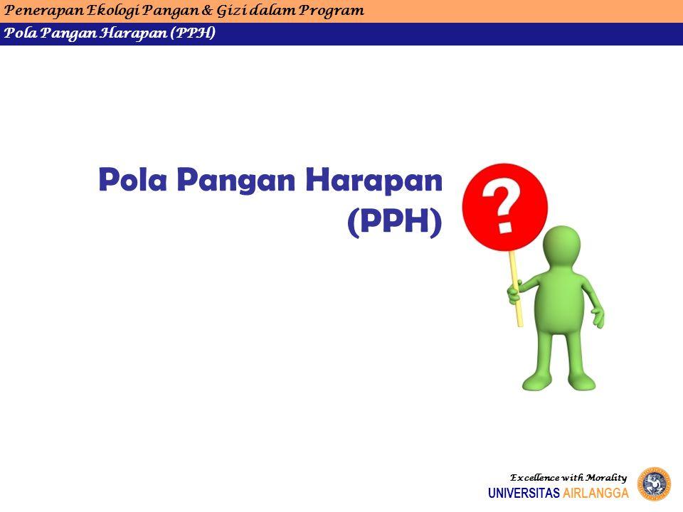 Penerapan Ekologi Pangan & Gizi dalam Program Pola Pangan Harapan (PPH) UNIVERSITAS AIRLANGGA Excellence with Morality Pola Pangan Harapan (PPH)