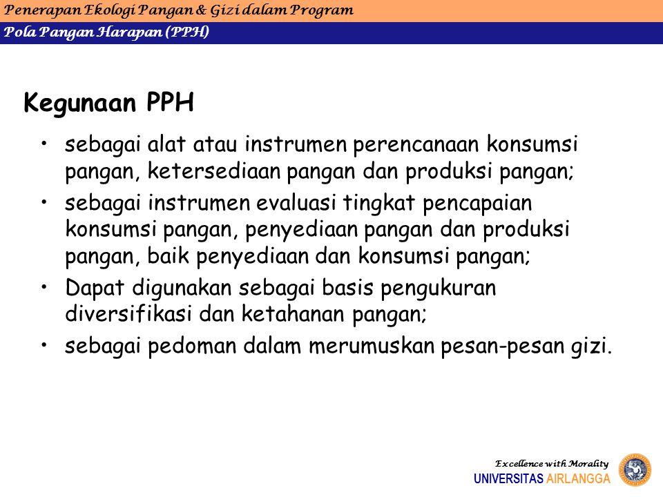 Kegunaan PPH sebagai alat atau instrumen perencanaan konsumsi pangan, ketersediaan pangan dan produksi pangan; sebagai instrumen evaluasi tingkat penc