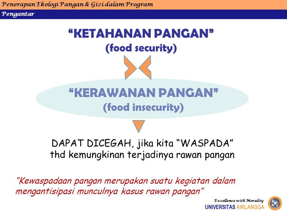 """Penerapan Ekologi Pangan & Gizi dalam Program Pengantar UNIVERSITAS AIRLANGGA Excellence with Morality """"KERAWANAN PANGAN"""" (food insecurity) DAPAT DICE"""