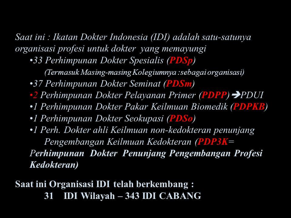 UNDANG-UNDANG PRAKTIK KEDOKTERAN Saat ini : Ikatan Dokter Indonesia (IDI) adalah satu-satunya organisasi profesi untuk dokter yang memayungi PDSp33 Pe