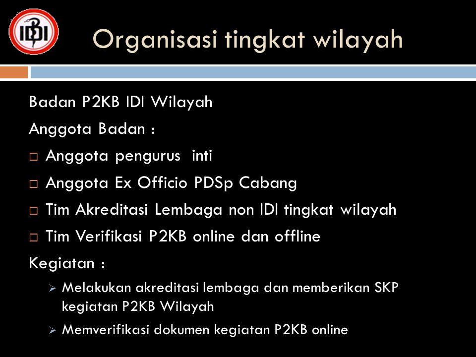 Organisasi tingkat wilayah Badan P2KB IDI Wilayah Anggota Badan :  Anggota pengurus inti  Anggota Ex Officio PDSp Cabang  Tim Akreditasi Lembaga no