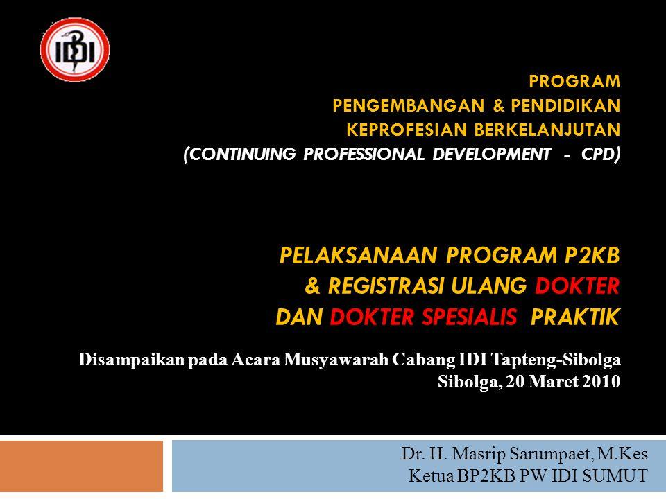 PROGRAM PENGEMBANGAN & PENDIDIKAN KEPROFESIAN BERKELANJUTAN (CONTINUING PROFESSIONAL DEVELOPMENT - CPD) PELAKSANAAN PROGRAM P2KB & REGISTRASI ULANG DO