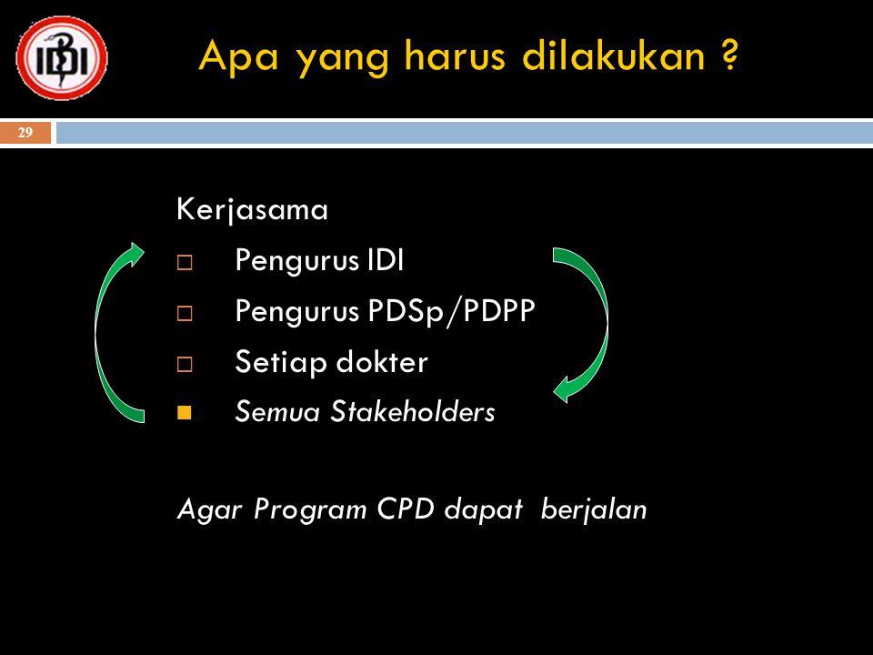 29 Apa yang harus dilakukan ? Kerjasama  Pengurus IDI  Pengurus PDSp/PDPP  Setiap dokter Semua Stakeholders Agar Program CPD dapat berjalan