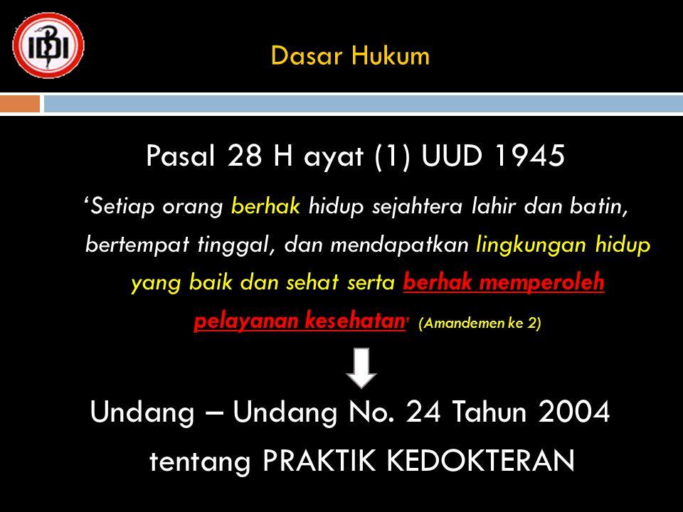 Dasar Hukum Pasal 28 H ayat (1) UUD 1945 'Setiap orang berhak hidup sejahtera lahir dan batin, bertempat tinggal, dan mendapatkan lingkungan hidup yan