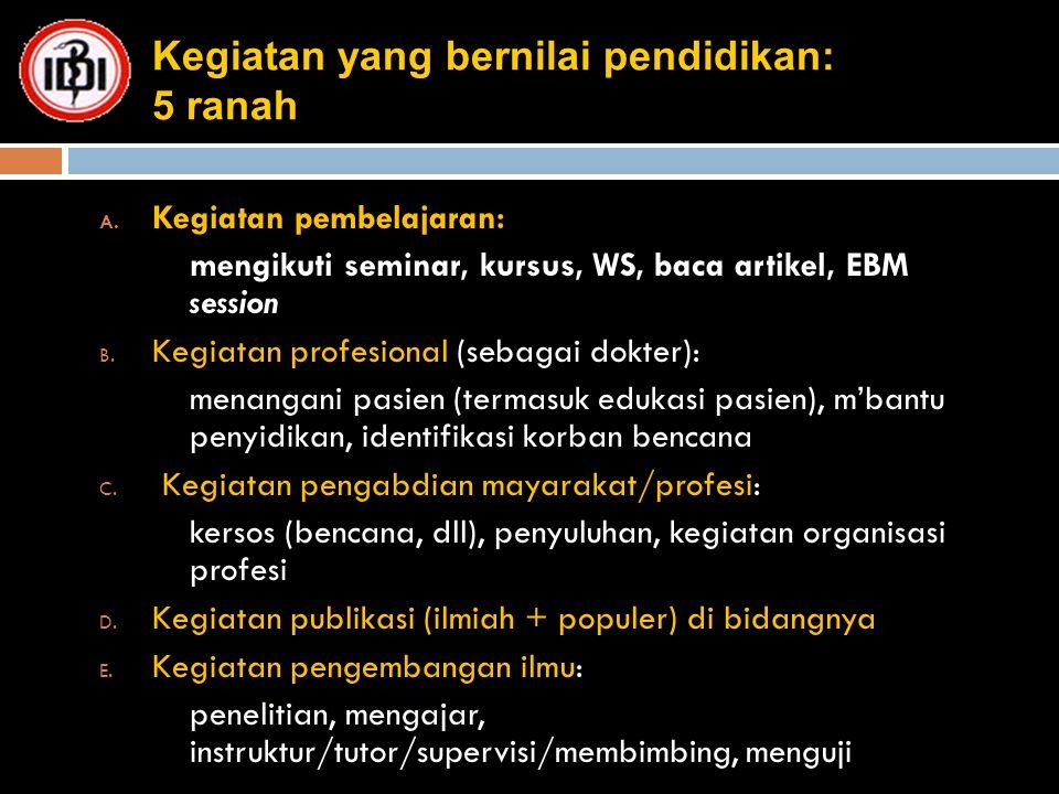Kegiatan yang bernilai pendidikan: 5 ranah A. Kegiatan pembelajaran: mengikuti seminar, kursus, WS, baca artikel, EBM session B. Kegiatan profesional