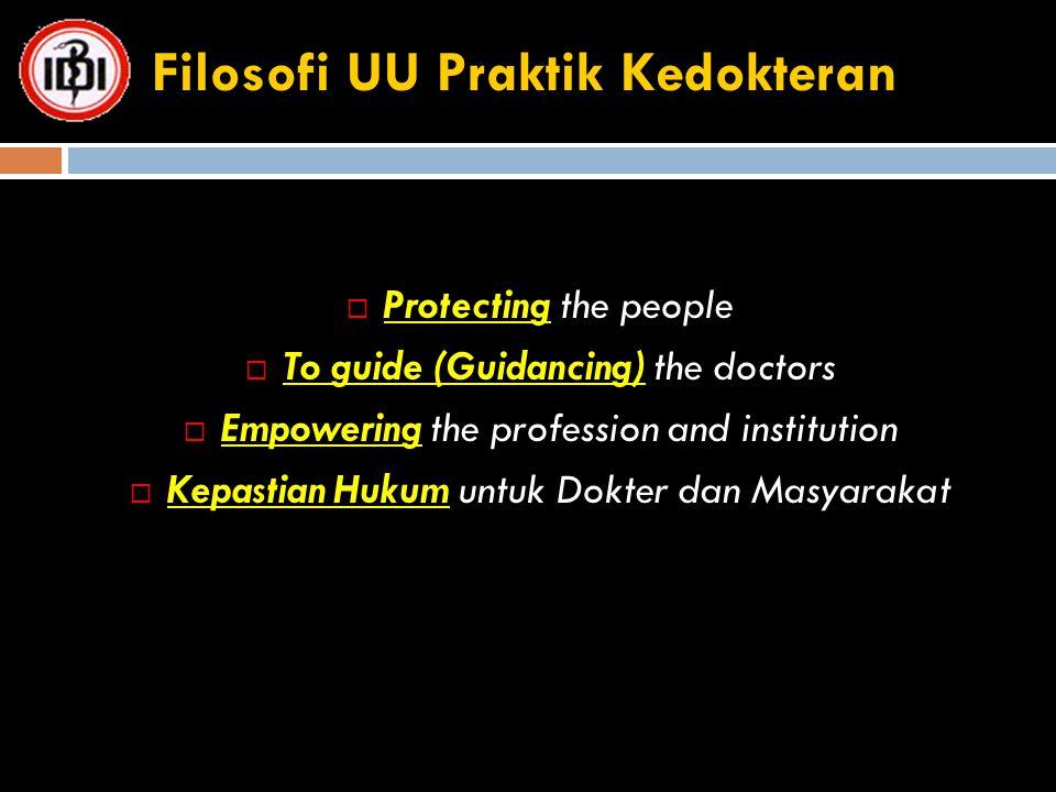 Filosofi UU Praktik Kedokteran  Protecting the people  To guide (Guidancing) the doctors  Empowering the profession and institution  Kepastian Huk