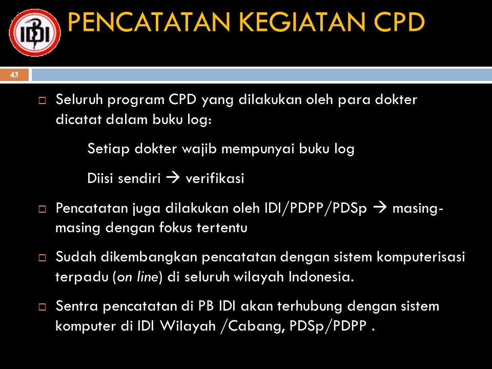 PENCATATAN KEGIATAN CPD  Seluruh program CPD yang dilakukan oleh para dokter dicatat dalam buku log: Setiap dokter wajib mempunyai buku log Diisi sen