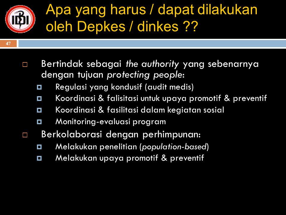 47 Apa yang harus / dapat dilakukan oleh Depkes / dinkes ??  Bertindak sebagai the authority yang sebenarnya dengan tujuan protecting people:  Regul