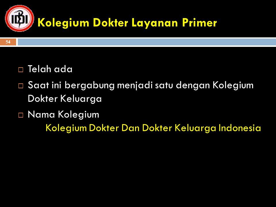 Kolegium Dokter Layanan Primer  Telah ada  Saat ini bergabung menjadi satu dengan Kolegium Dokter Keluarga  Nama Kolegium Kolegium Dokter Dan Dokte