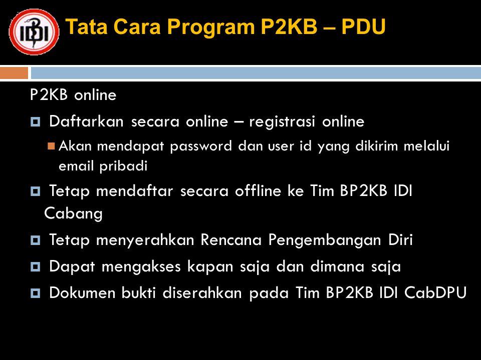 Tata Cara Program P2KB – PDU P2KB online  Daftarkan secara online – registrasi online Akan mendapat password dan user id yang dikirim melalui email p