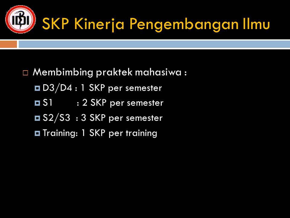 SKP Kinerja Pengembangan Ilmu  Membimbing praktek mahasiwa :  D3/D4 : 1 SKP per semester  S1 : 2 SKP per semester  S2/S3 : 3 SKP per semester  Tr