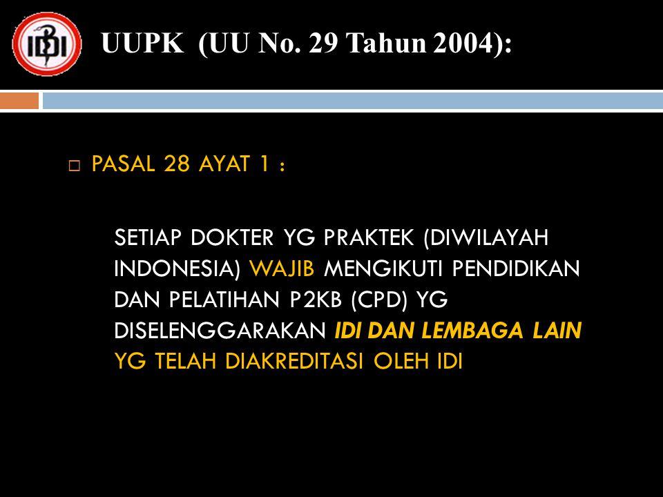  PASAL 28 AYAT 1 : SETIAP DOKTER YG PRAKTEK (DIWILAYAH INDONESIA) WAJIB MENGIKUTI PENDIDIKAN DAN PELATIHAN P2KB (CPD) YG DISELENGGARAKAN IDI DAN LEMB