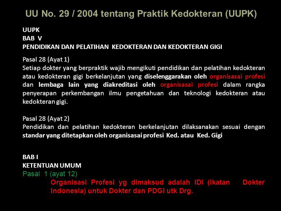 UU No. 29 / 2004 tentang Praktik Kedokteran (UUPK) UUPK BAB V PENDIDIKAN DAN PELATIHAN KEDOKTERAN DAN KEDOKTERAN GIGI Pasal 28 (Ayat 1) Setiap dokter