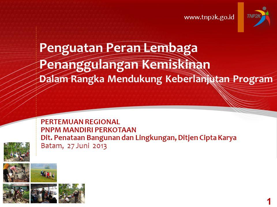 Penguatan Peran Lembaga Penanggulangan Kemiskinan Dalam Rangka Mendukung Keberlanjutan Program www.tnp2k.go.id PERTEMUAN REGIONAL PNPM MANDIRI PERKOTAAN Dit.