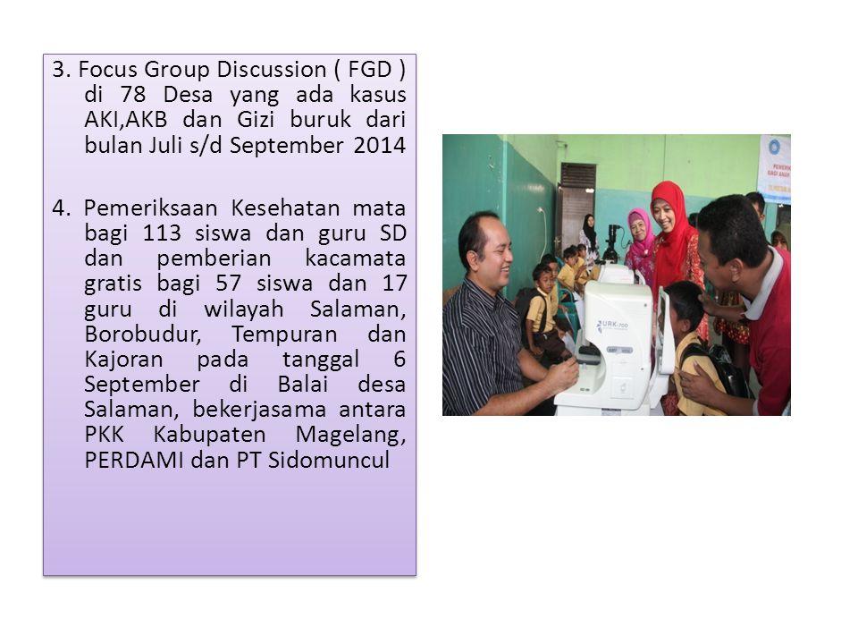 3. Focus Group Discussion ( FGD ) di 78 Desa yang ada kasus AKI,AKB dan Gizi buruk dari bulan Juli s/d September 2014 4. Pemeriksaan Kesehatan mata ba