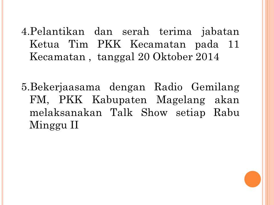 4.Pelantikan dan serah terima jabatan Ketua Tim PKK Kecamatan pada 11 Kecamatan, tanggal 20 Oktober 2014 5.Bekerjaasama dengan Radio Gemilang FM, PKK