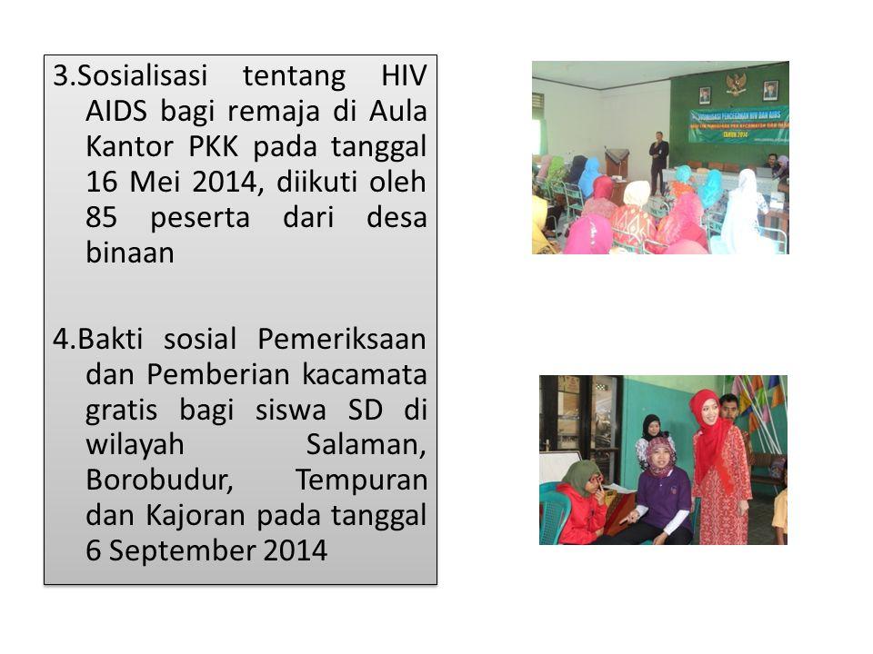 3.Sosialisasi tentang HIV AIDS bagi remaja di Aula Kantor PKK pada tanggal 16 Mei 2014, diikuti oleh 85 peserta dari desa binaan 4.Bakti sosial Pemeri