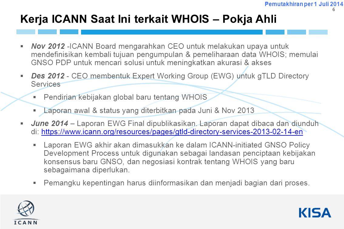 6 Pemutakhiran per 1 Juli 2014  Nov 2012 -ICANN Board mengarahkan CEO untuk melakukan upaya untuk mendefinisikan kembali tujuan pengumpulan & pemelih