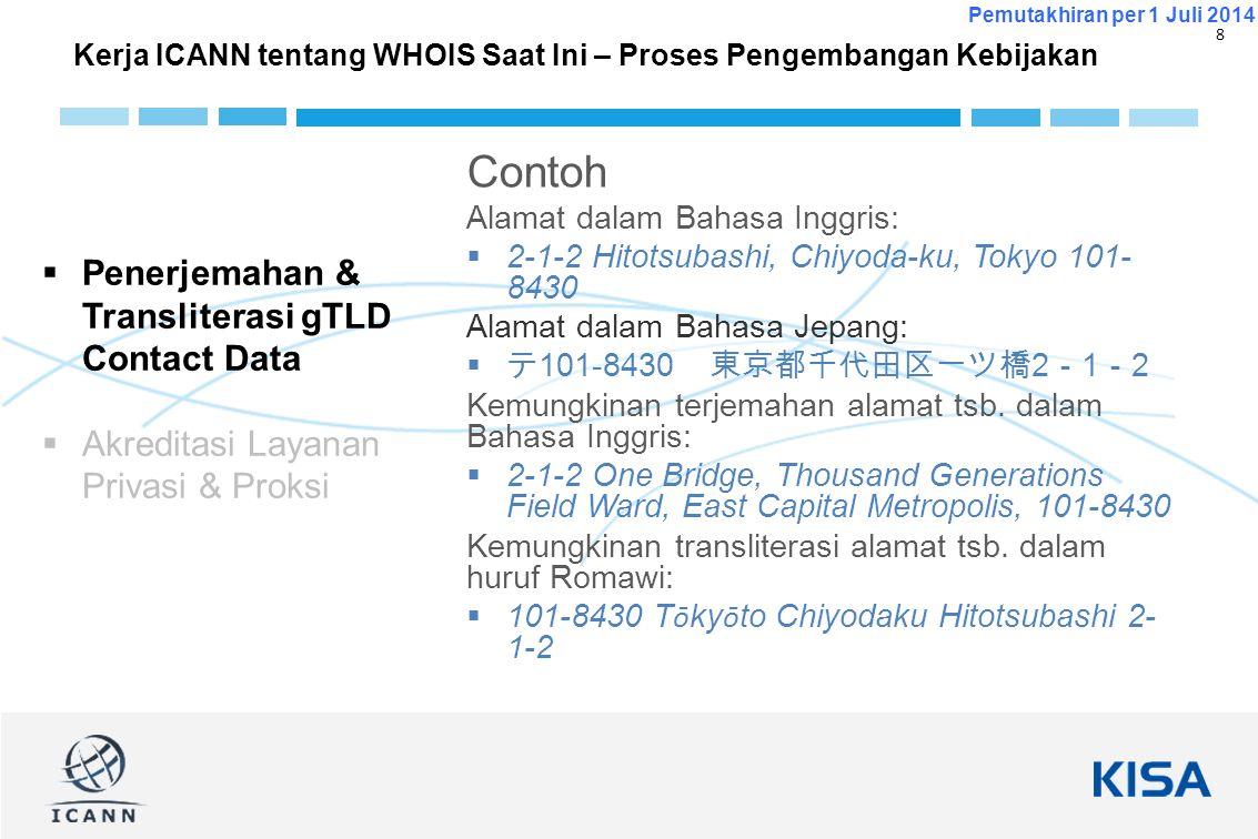 9 Pemutakhiran per 1 Juli 2014 Contoh Kerja ICANN tentang WHOIS Saat Ini – Proses Pengembangan Kebijakan  Terjemahan & Transliterasi gTLD Contact Data  Akreditasi Layanan Privasi & Proksi Bukan registran sebenarnya, hanya proksi