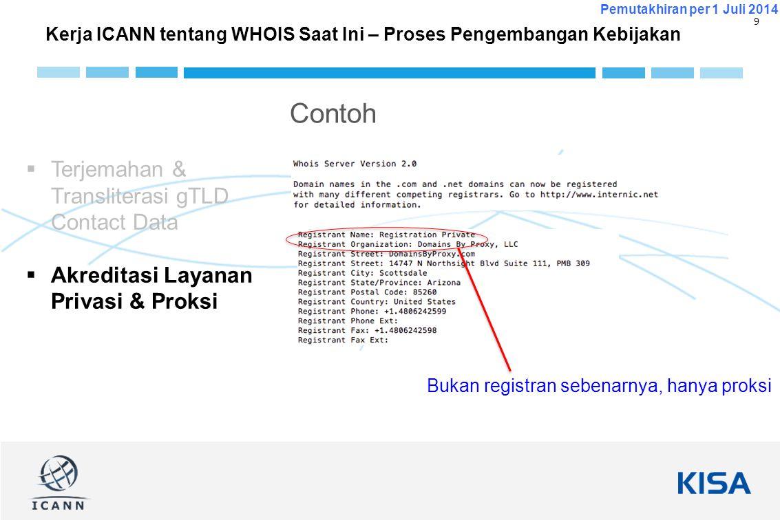10 Pemutakhiran per 1 Juli 2014  Website ICANN Whois yang baru: http://whois.icann.org/http://whois.icann.org/  Pokja Ahli tentang gTLD Directory Services: https://community.icann.org/x/VQZlAg https://community.icann.org/x/VQZlAg  Informasi latar belakang kebijakan WHOIS dalam GNSO: http://gnso.icann.org/en/group-activities/other/whois http://gnso.icann.org/en/group-activities/other/whois  GNSO PDP tentang Isu Akreditasi Layanan Privasi & Proxy: http://gnso.icann.org/en/group-activities/active/ppsa http://gnso.icann.org/en/group-activities/active/ppsa  GNSO PDP tentang Terjemahan & Transliterasi gTLD Contact Data: http://gnso.icann.org/en/group-activities/active/transliteration- contact http://gnso.icann.org/en/group-activities/active/transliteration- contact Informasi lebih lanjut