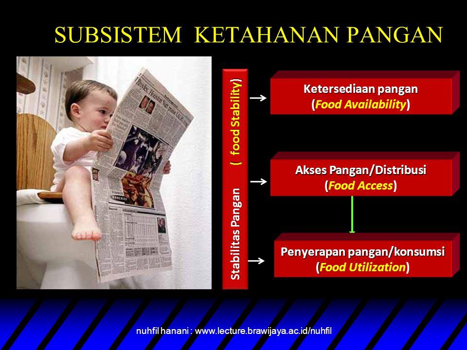 SUBSISTEM KETAHANAN PANGAN Stabilitas Pangan ( food Stability ) Ketersediaan pangan ( (Food Availability) Akses Pangan/Distribusi ( Akses Pangan/Distribusi (Food Access) Penyerapan pangan/konsumsi ( Penyerapan pangan/konsumsi (Food Utilization) nuhfil hanani : www.lecture.brawijaya.ac.id/nuhfil