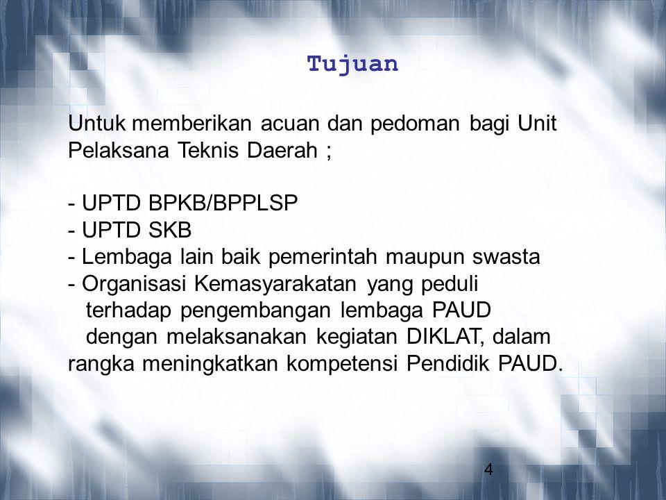 4 Tujuan Untuk memberikan acuan dan pedoman bagi Unit Pelaksana Teknis Daerah ; - UPTD BPKB/BPPLSP - UPTD SKB - Lembaga lain baik pemerintah maupun sw