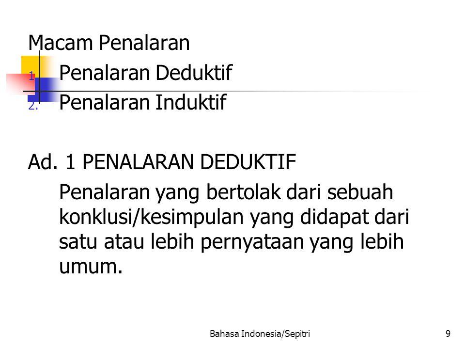 Bahasa Indonesia/Sepitri9 Macam Penalaran 1.Penalaran Deduktif 2.