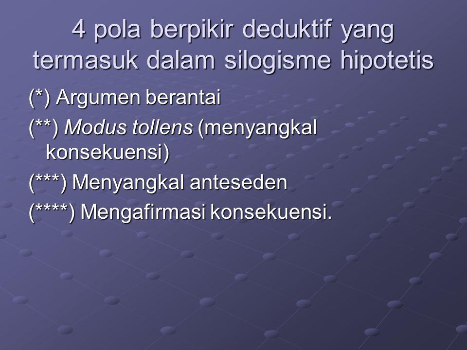 4 pola berpikir deduktif yang termasuk dalam silogisme hipotetis (*) Argumen berantai (**) Modus tollens (menyangkal konsekuensi) (***) Menyangkal anteseden (****) Mengafirmasi konsekuensi.