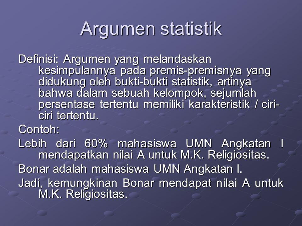 Argumen statistik Definisi: Argumen yang melandaskan kesimpulannya pada premis-premisnya yang didukung oleh bukti-bukti statistik, artinya bahwa dalam sebuah kelompok, sejumlah persentase tertentu memiliki karakteristik / ciri- ciri tertentu.
