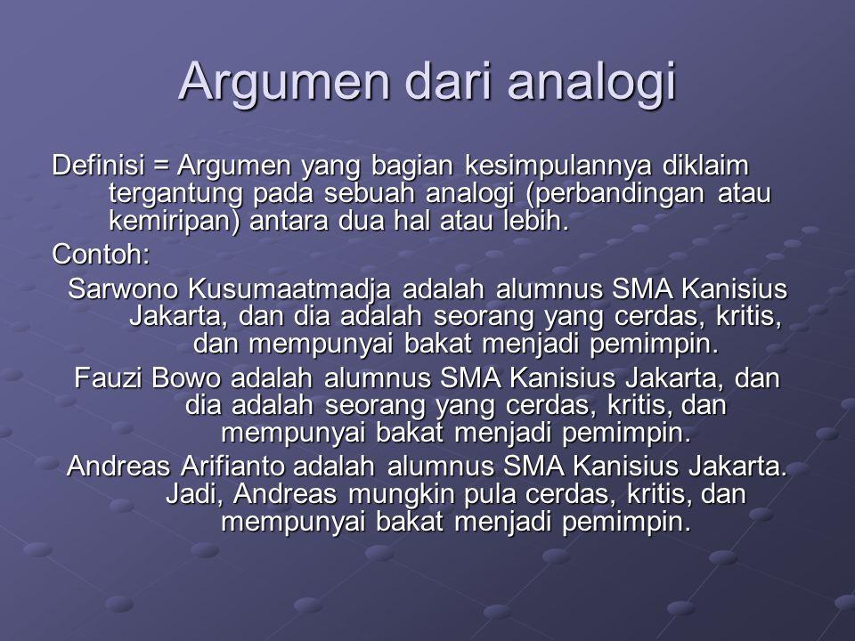 Argumen dari analogi Definisi = Argumen yang bagian kesimpulannya diklaim tergantung pada sebuah analogi (perbandingan atau kemiripan) antara dua hal atau lebih.
