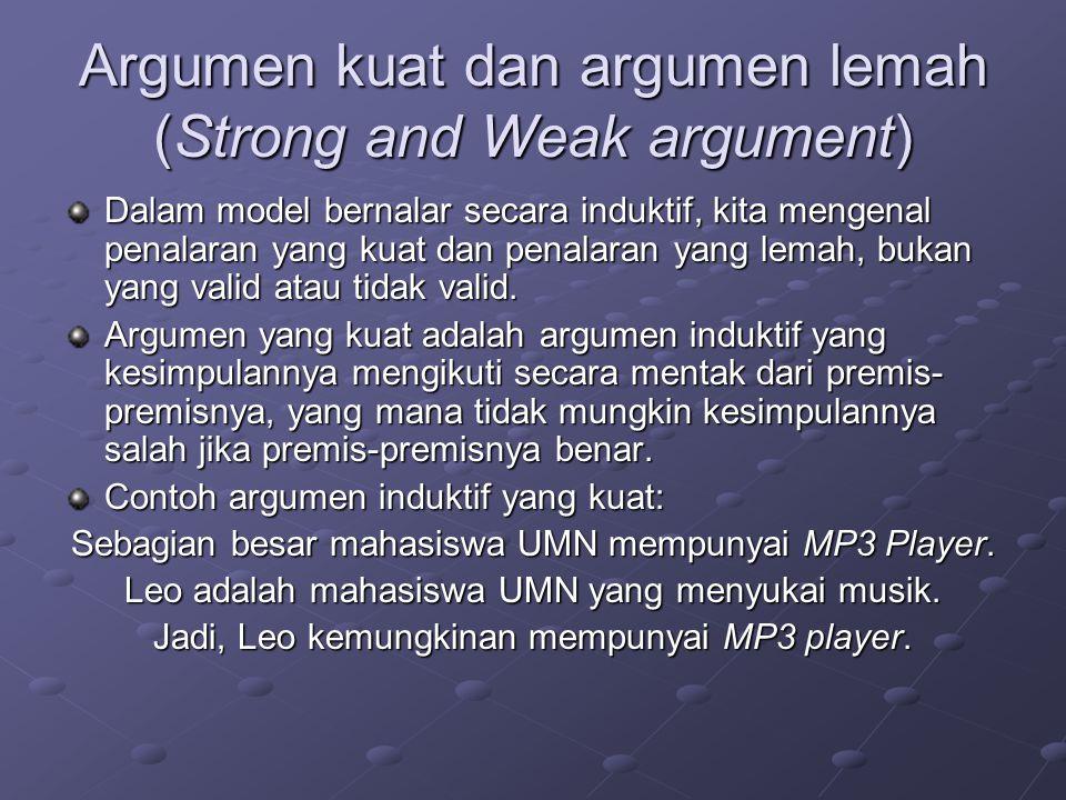 Argumen kuat dan argumen lemah (Strong and Weak argument) Dalam model bernalar secara induktif, kita mengenal penalaran yang kuat dan penalaran yang lemah, bukan yang valid atau tidak valid.