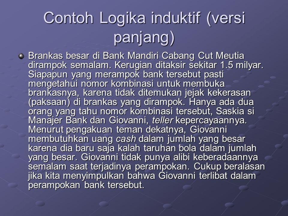 Contoh Logika induktif (versi panjang) Brankas besar di Bank Mandiri Cabang Cut Meutia dirampok semalam.