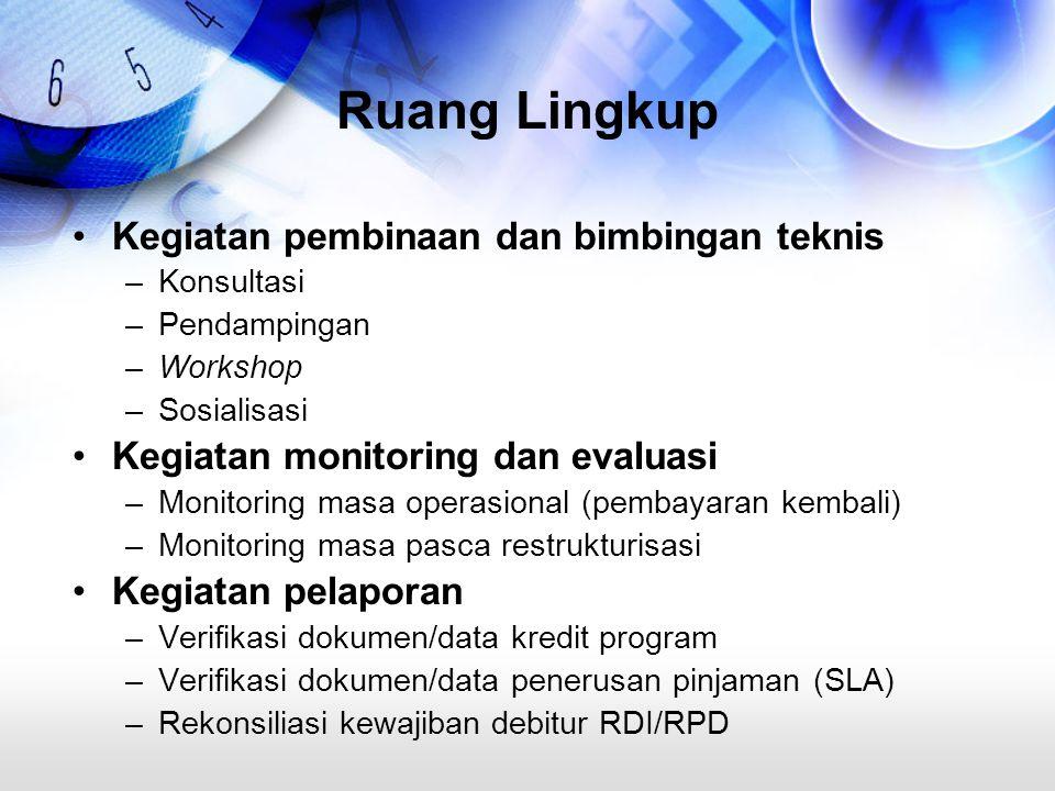 Ruang Lingkup Kegiatan pembinaan dan bimbingan teknis –Konsultasi –Pendampingan –Workshop –Sosialisasi Kegiatan monitoring dan evaluasi –Monitoring ma