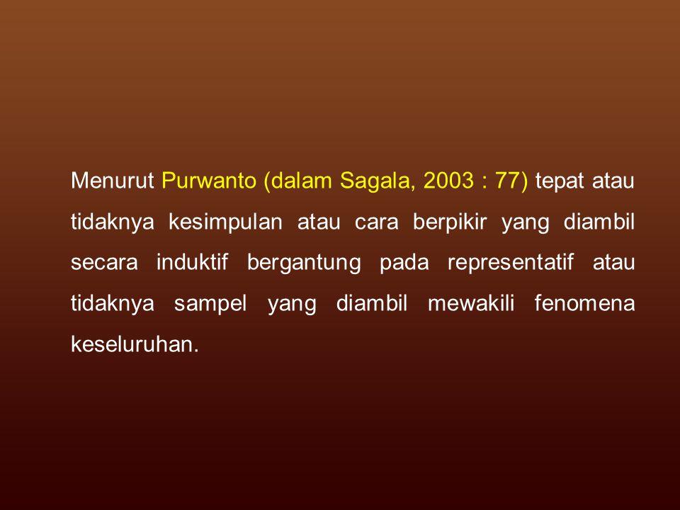 Menurut Purwanto (dalam Sagala, 2003 : 77) tepat atau tidaknya kesimpulan atau cara berpikir yang diambil secara induktif bergantung pada representati