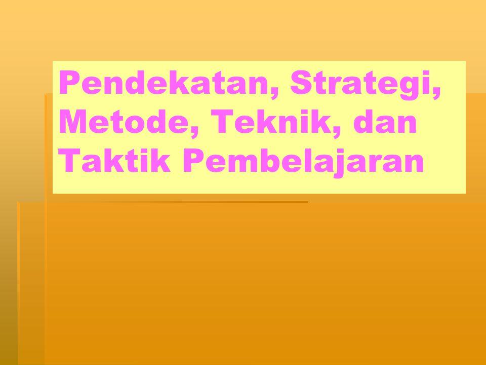 Pendekatan, Strategi, Metode, Teknik, dan Taktik Pembelajaran