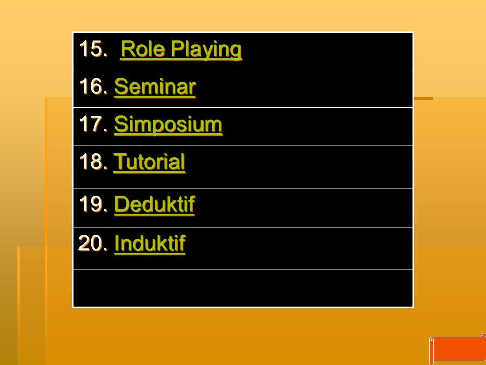15. Role Playing Role PlayingRole Playing 16. Seminar Seminar 17. Simposium Simposium 18. Tutorial Tutorial 19. Deduktif Deduktif 20. Induktif Indukti
