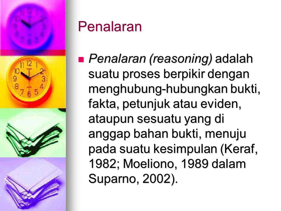 Penalaran Penalaran (reasoning) adalah suatu proses berpikir dengan menghubung-hubungkan bukti, fakta, petunjuk atau eviden, ataupun sesuatu yang di anggap bahan bukti, menuju pada suatu kesimpulan (Keraf, 1982; Moeliono, 1989 dalam Suparno, 2002).