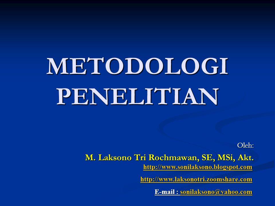 METODOLOGI PENELITIAN Oleh: M.Laksono Tri Rochmawan, SE, MSi, Akt.